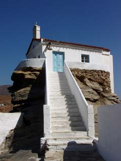 The seaside chapel of Agia Sophia in Andros