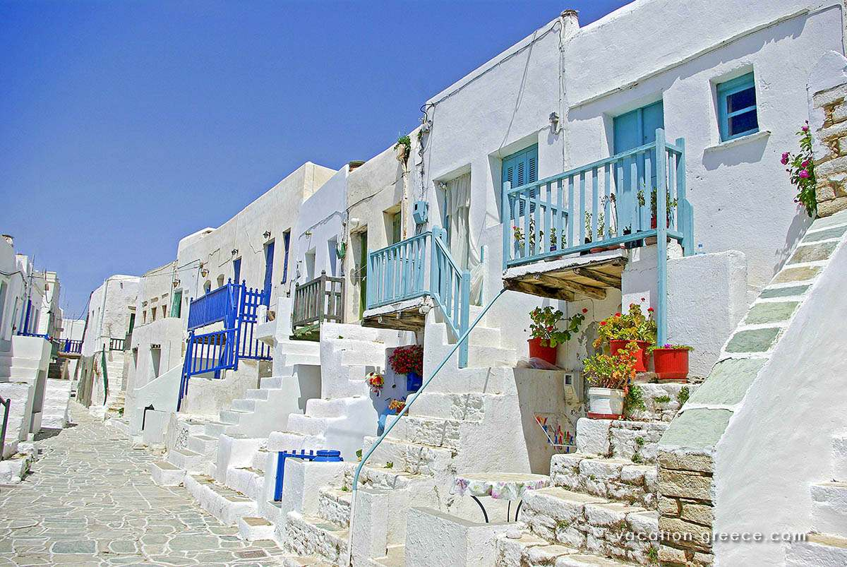 Picturesque alley in Folegandros island in the Cyclades
