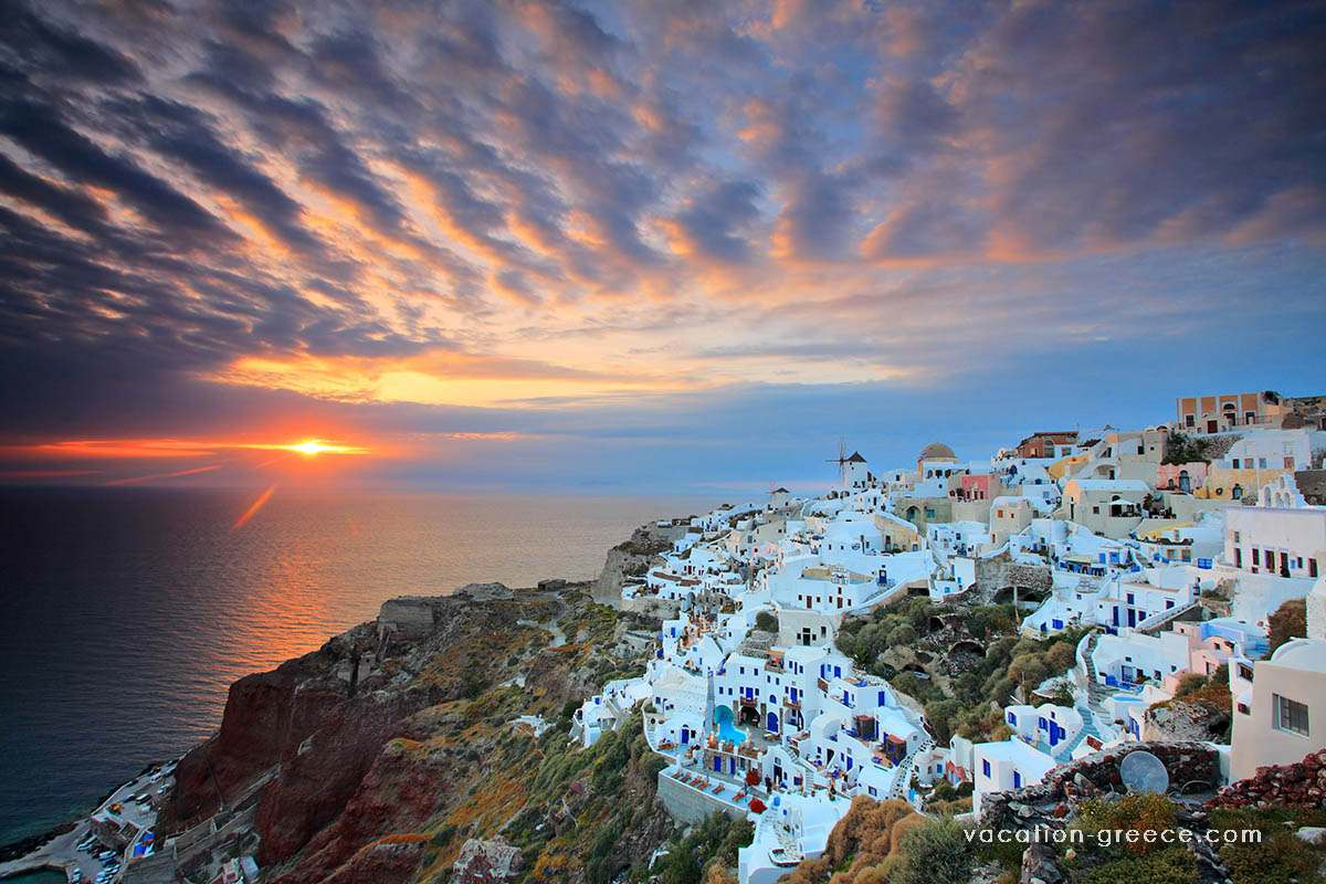 Santorini island in the Cyclades islands in Greece