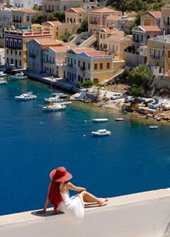 Superb view of Symi island capital, Dodecanese islands