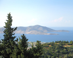 A Panoramic view of the Aegean sea from the island of Kos (Greece), on the left is the island of Pserimos
