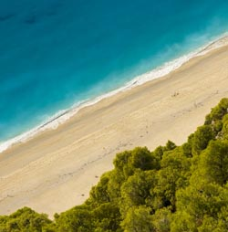 Sandy beaches in the Ionian islands